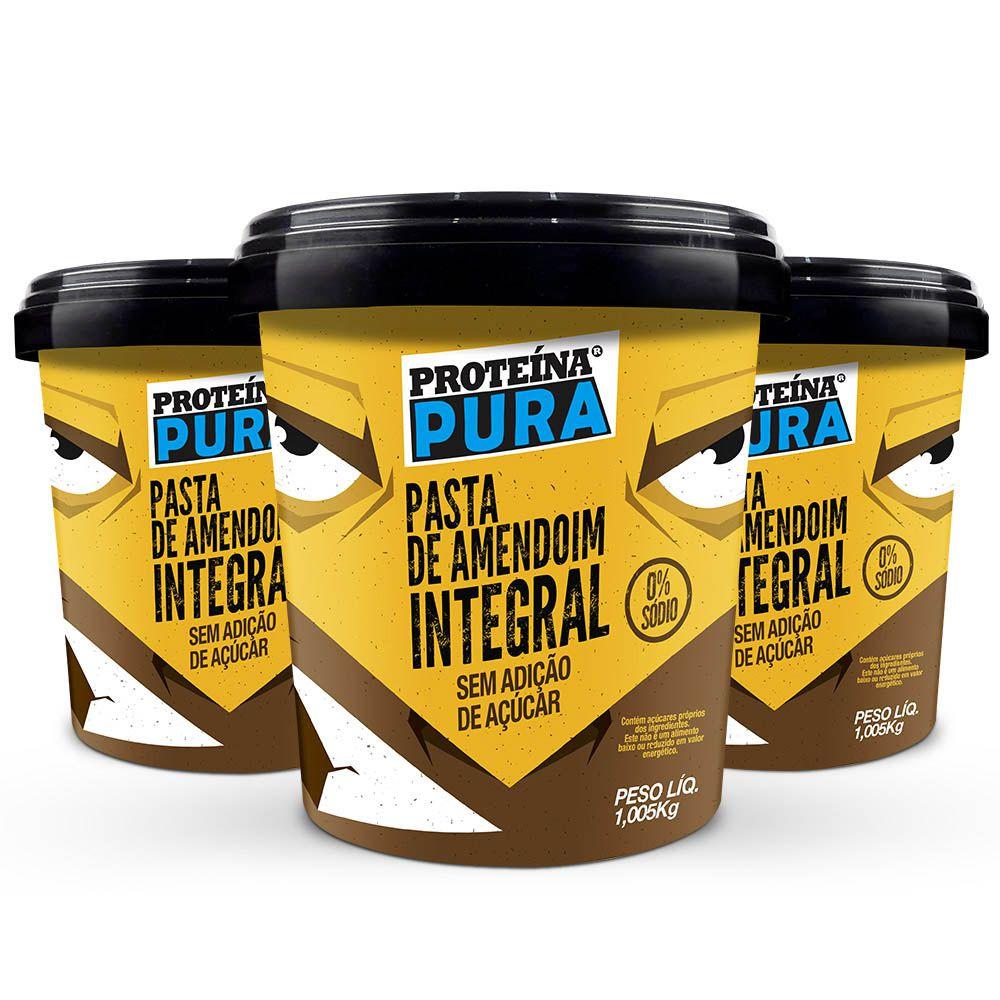 Kit Pasta de Amendoim Integral  ( 3 un x 1Kg) - Proteína Pura