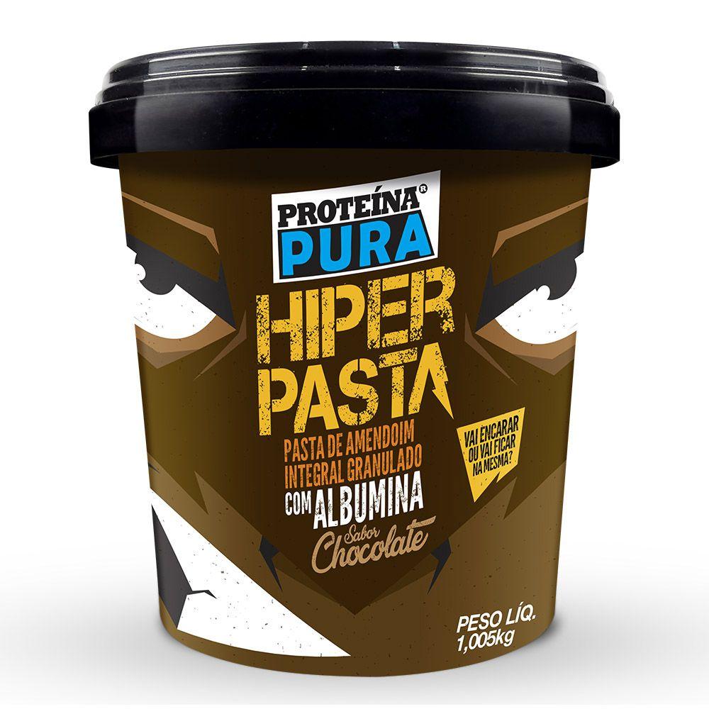 Hiper Pasta de Amendoim Granulado com 40% Albumina sabor Chocolate - 1Kg - Proteína Pura