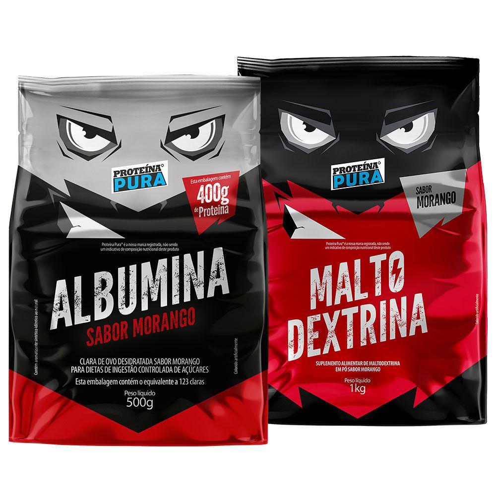 Kit Albumina (500g) + Maltodextrina (1Kg) - Morango ( 2 un )
