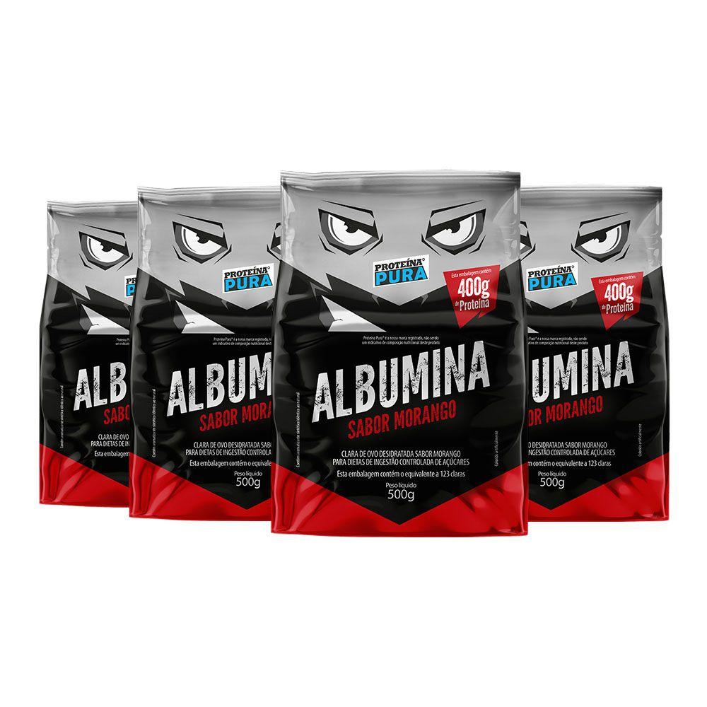 Kit Albumina Morango - (4 un x 500g) - Proteína Pura