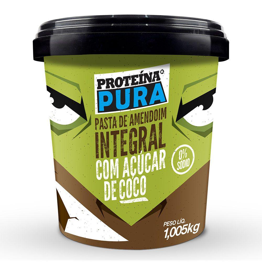 Pasta de Amendoim Integral Com Açúcar de Coco - 1Kg - Proteína Pura