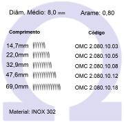 Mola compressão OMC INOX 08010XX (Embalagem 10 peças)