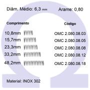 Mola compressão OMC INOX 08008XX (Embalagem 10 peças)