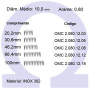Mola compressão OMC INOX 08012XX (Embalagem 10 peças)