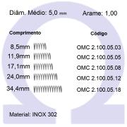 Mola compressão OMC INOX 10005XX (Embalagem 10 peças)