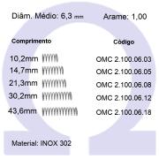Mola compressão OMC INOX 10006XX (Embalagem 10 peças)