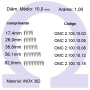 Mola Compressão OMC INOX 10010XX (Embalagem 10 peças)