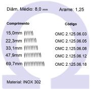 Mola compressão OMC INOX 12506XX  (Embalagem 5 peças)