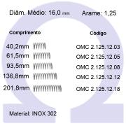 Mola Compressão OMC INOX 12512XX  (Embalagem 5 peças)