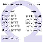 Mola Compressão OMC INOX 16005XX  (Embalagem 5 peças)