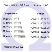 Mola Compressão OMC INOX 16006XX  (Embalagem 5 peças)