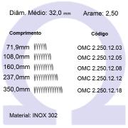 Mola Compressão OMC INOX 25012XX  (Embalagem 5 peças)