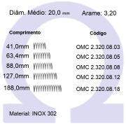 Mola Compressão OMC INOX 32008XX  (Embalagem 5 peças)