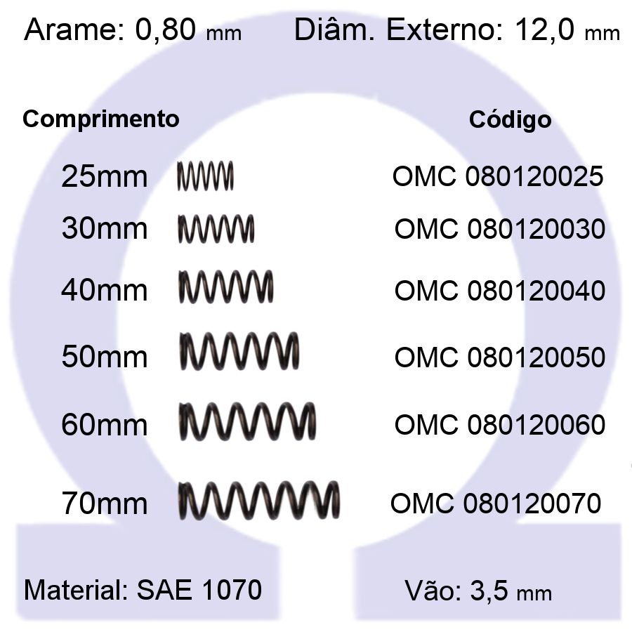 Mola de Compressão OMC 080120XXX (Embalagem 10 peças)