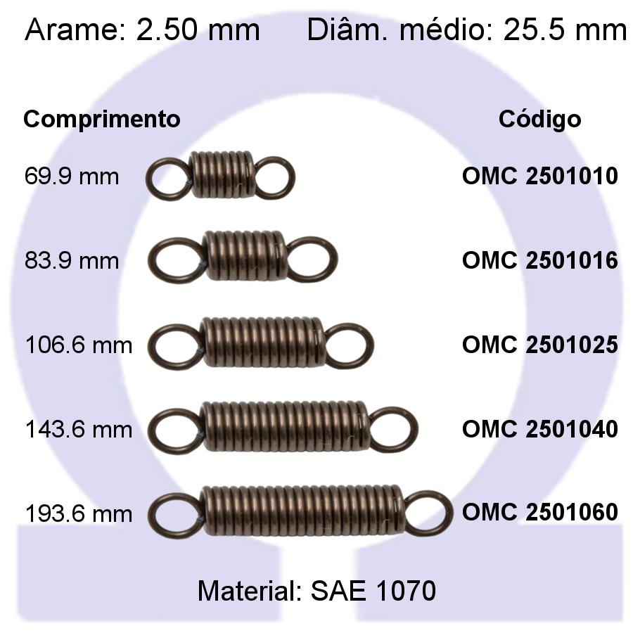 Mola de tração OMT 25010XX (Embalagem 5 peças)