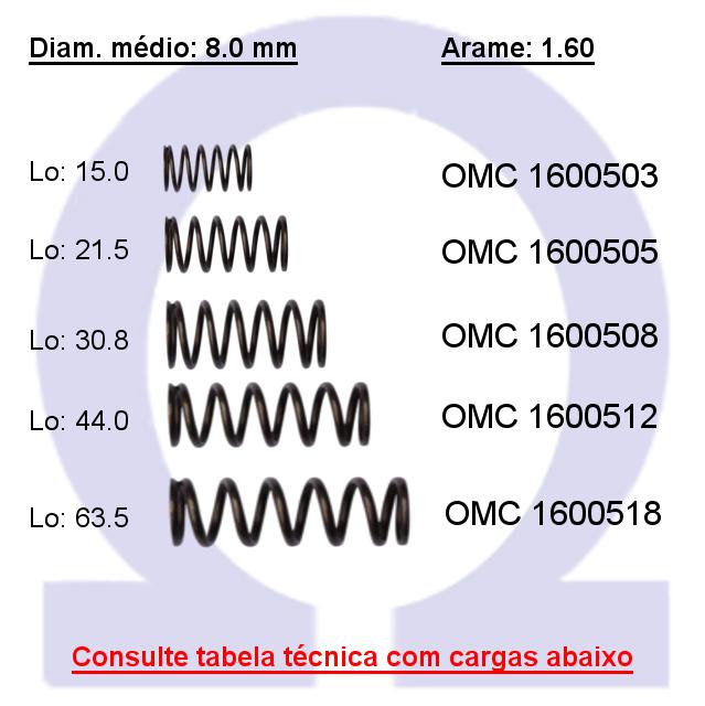 Mola compressão OMC 16005XX  (Embalagem 10 peças)