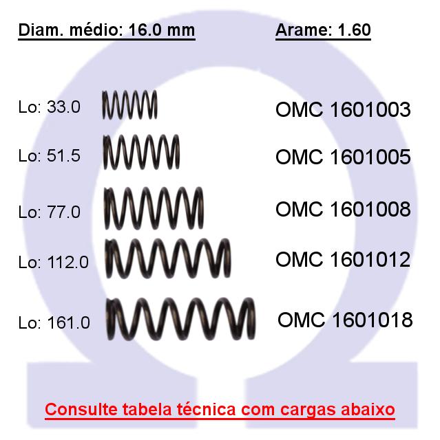 Mola compressão OMC 16010XX  (Embalagem 10 peças)