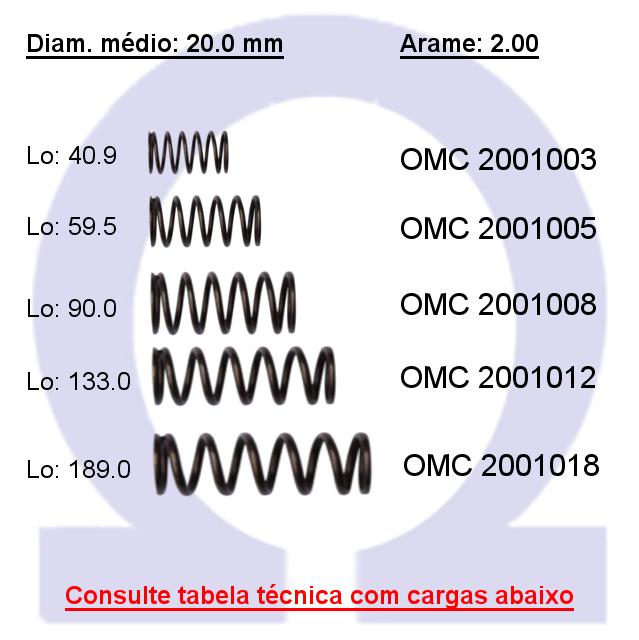 Mola compressão OMC 20010XX  (Embalagem 5 peças)