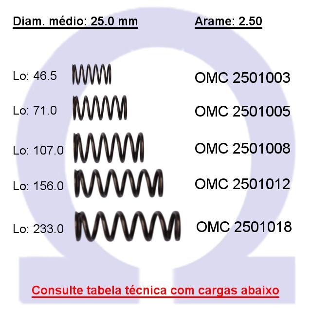 Mola compressão OMC 25010XX  (Embalagem 5 peças)