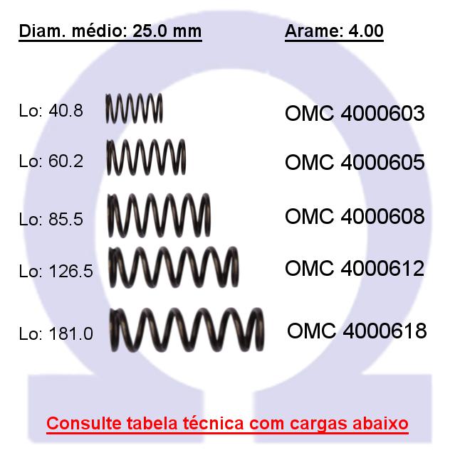 Mola compressão OMC 40006XX  (Embalagem 5 peças)