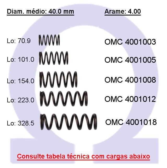 Mola compressão OMC 40010XX  (Embalagem 5 peças)