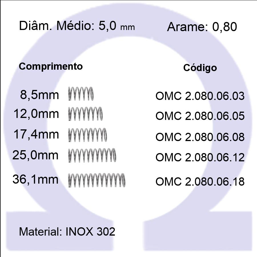 Mola compressão OMC INOX 08006XX (Embalagem 10 peças)