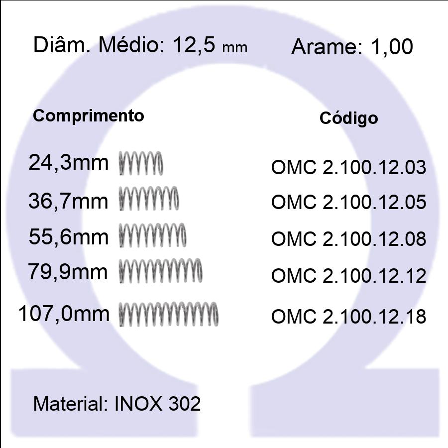 Mola compressão OMC INOX 10012XX (Embalagem 5 peças)