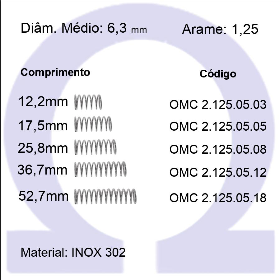 Mola compressão OMC INOX 12505XX (Embalagem 5 peças)