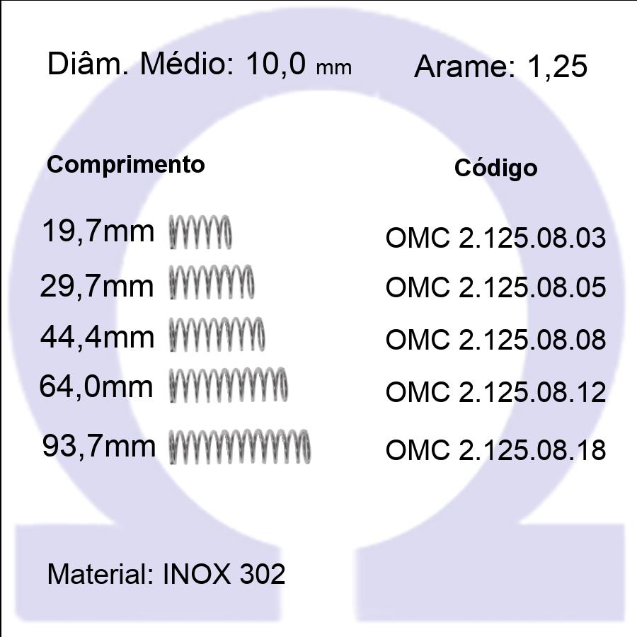 Mola Compressão OMC INOX 12508XX  (Embalagem 5 peças)