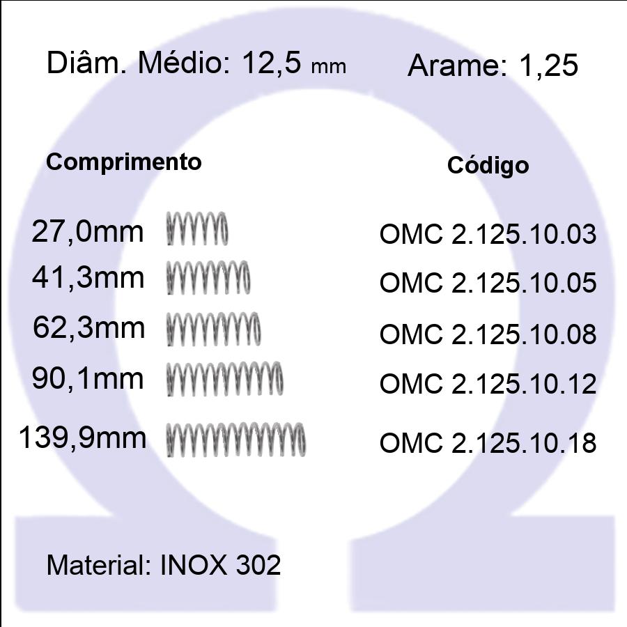 Mola Compressão OMC INOX 12510XX  (Embalagem 5 peças)