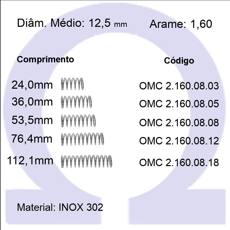 Mola Compressão OMC INOX 16008XX  (Embalagem 5 peças)