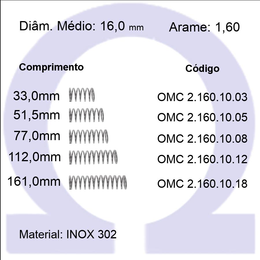 Mola Compressão OMC INOX 16010XX  (Embalagem 5 peças)