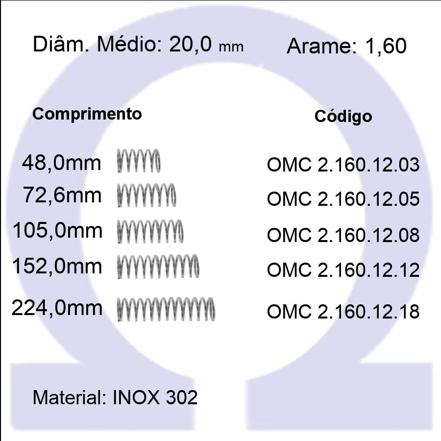 Mola Compressão OMC INOX 16012XX  (Embalagem 5 peças)