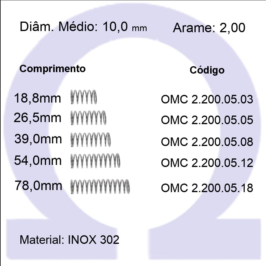 Mola Compressão OMC INOX 20005XX  (Embalagem 5 peças)