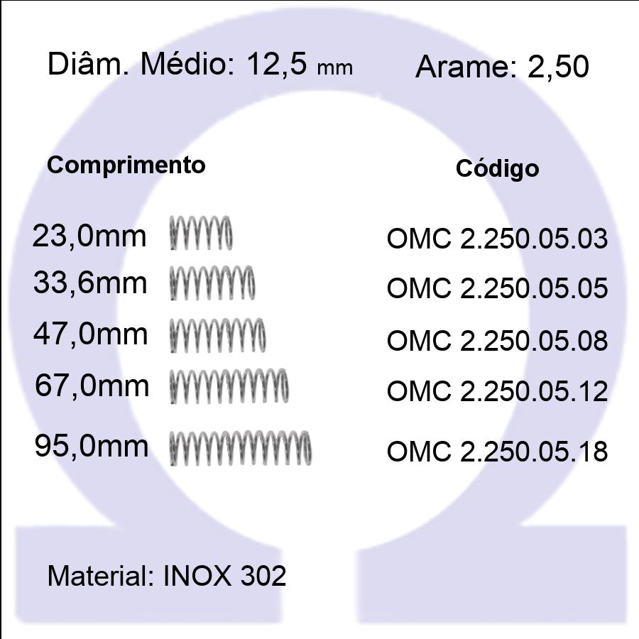 Mola Compressão OMC INOX 25005XX  (Embalagem 5 peças)