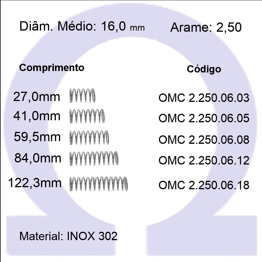 Mola Compressão OMC INOX 25006XX  (Embalagem 5 peças)