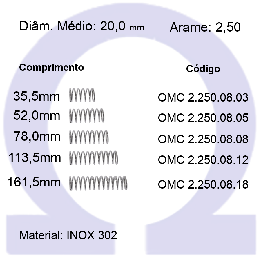 Mola Compressão OMC INOX 25008XX  (Embalagem 5 peças)