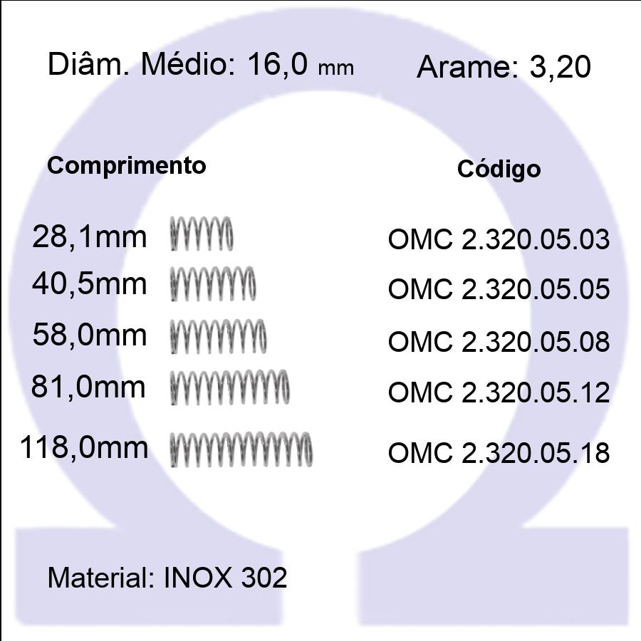 Mola Compressão OMC INOX 32005XX  (Embalagem 5 peças)