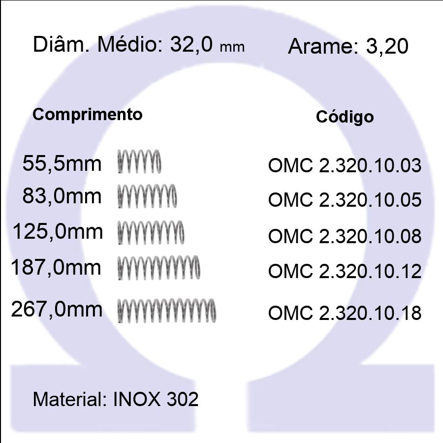 Mola Compressão OMC INOX 32010XX  (Embalagem 5 peças)
