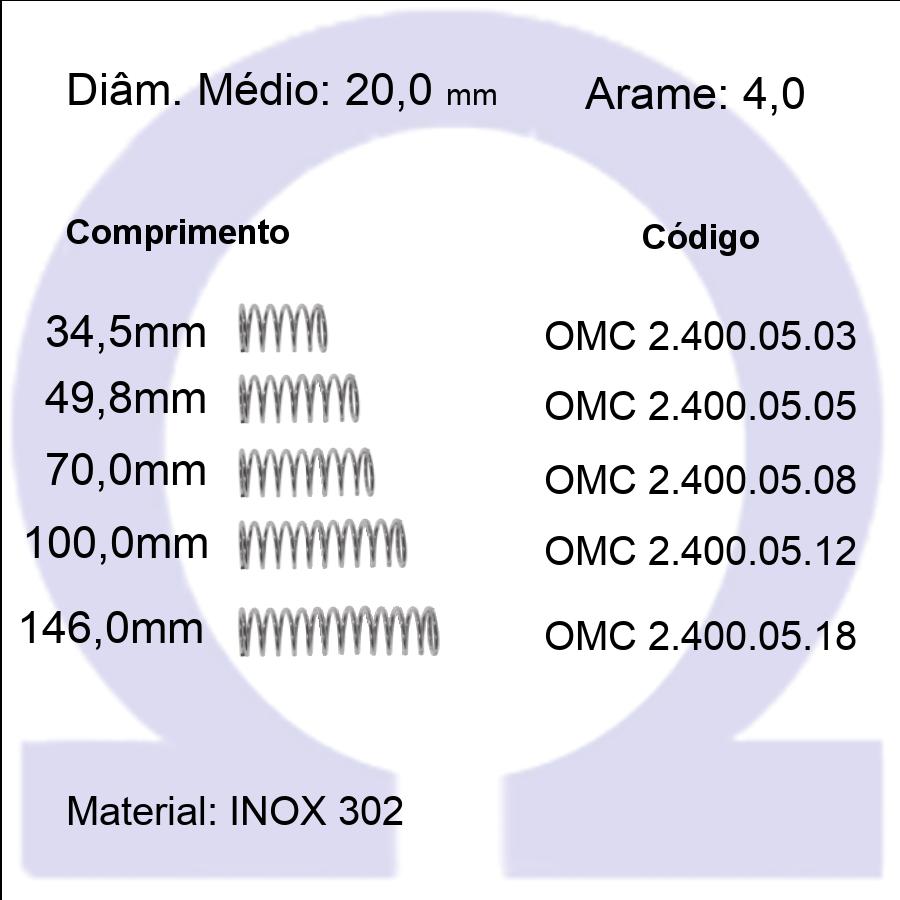 Mola Compressão OMC INOX 40005XX  (Embalagem 5 peças)