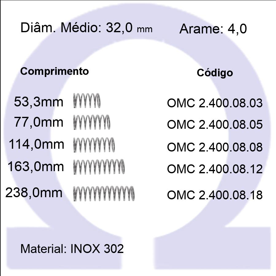Mola Compressão OMC INOX 40008XX  (Embalagem 5 peças)