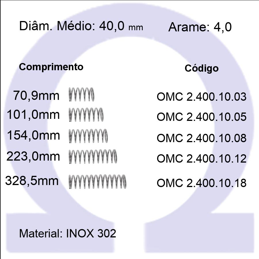 Mola Compressão OMC INOX 40010XX  (Embalagem 5 peças)