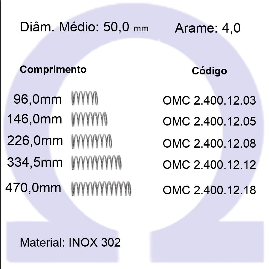 Mola Compressão OMC INOX 40012XX  (Embalagem 5 peças)