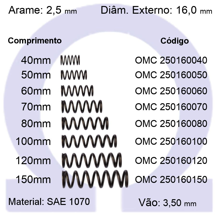 Mola de Compressão OMC 250160XXX (Embalagem 5 peças)