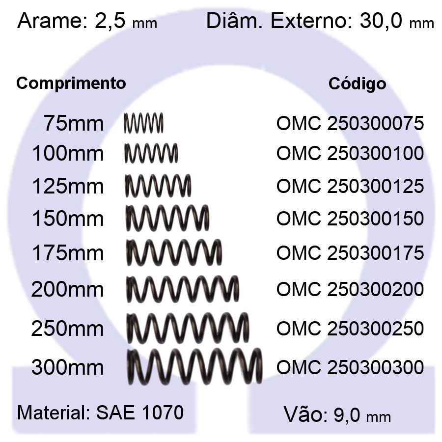 Mola de Compressão OMC 250300XXX (Embalagem 5 peças)