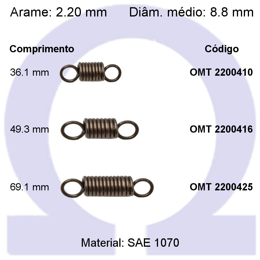 Mola de tração OMT 22004XX (Embalagem 5 peças)