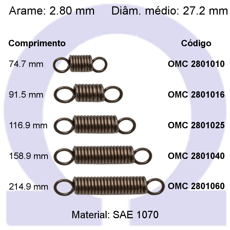 Mola de tração OMT 28010XX (Embalagem 5 peças)