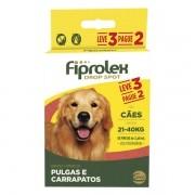 Antipulgas e Carrapatos Cães 21 kg - 40 kg Fiprolex Leve 3 e Pague 2
