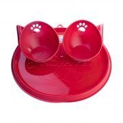 Kit Comedouro e Bebedouro para Gatos Vermelho