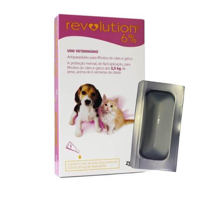 Anti Pulgas e Carrapatos Revolution Cães e Gatos até 2,5kg- 1 Pipeta